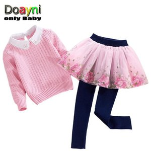 Doayni Baby Girls Clothing Sets 2pcs Up Turn-down Sweaters with Lace String Bead + Stereo Floral Lace Mesh Dress Pants Clothes