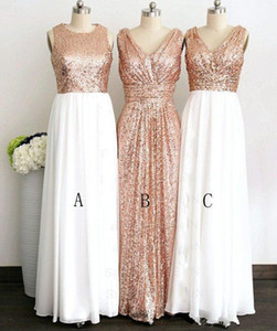 2019 New Rose Gold Sequined Three Different Style Long Bridesmaid Dresses For Wedding Elegant Maid Of Honor Gowns Women Formal Party Dresses