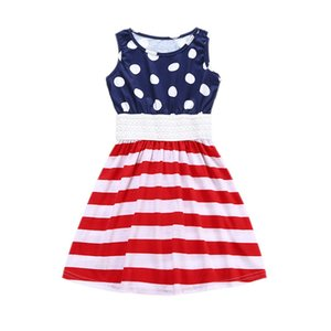 Wholesale American Patriotic Day Sleeveless Dresses Kids Clothing Todder Girls Dresses Dot Pattern Girls Dress Factory Direct Sales