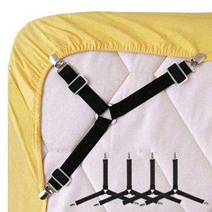 Wholesale Adjustable Triangle Bed Sheet Clips Straps Gripper Blanket Suspender Fitted Sheet Fasteners Holder Home Practical Tool set