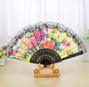 Wholesale Spanish Floral Folding Hand Fan Flowers Pattern Lace Handheld Fans Wedding Dancing Church Party Gifts Party Favor nt