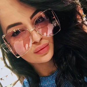 Wholesale OUTEYE Brand Designer Metal Frame Women Square Sunglasses Fashion Oversized Female Mirror Sun Glasses Ladies Clear Pink Shades