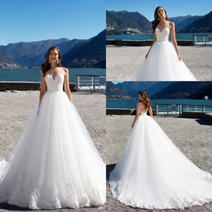 Wholesale 2019 New Spaghetti Straps Lace Applique A Line Wedding Dresses Backless Court Train Custom Made Designer Plus Size Bridal Gowns