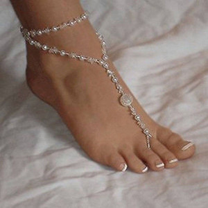 Wholesale 1PCS Pearl Foot Anklet Barefoot Sandals Sandal Bridal Beach Stretch Ankle Bracelet Chain For Women Foot Jewelry Accessories Charming