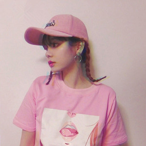 Wholesale Tee Shirt Femme Lip Sexy Tshirt Kawaii Korea Ulzzang Harajuku Printed Women Pink T Shirts Casual Loose Short Sleeve Tops