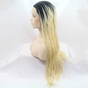 Wholesale Lace Front Braid Wig Black To Blonde Two Tone Synthetic Heat Resistant Fiber Hair Blonde Ombre Braided Lace Front Wigs For Women