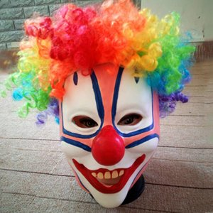 Wholesale Clown Mask with Hair Costume Halloween Scary Funny Adult Men Women Festive Cosplay Party Horrible Mask Decoration