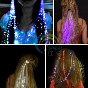 Wholesale Flash LED Hair Light Emitting Fiber Optic Pigtail Braid Plait Luminous Hair Wig KTV Party Prom Supplies Hair Accessory headdress
