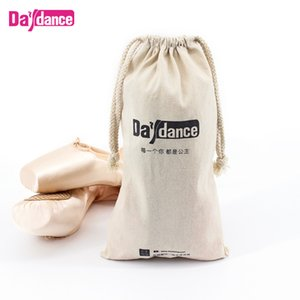 Wholesale Beige Canvas Cotton Drawstring Dance Bags For Pointe Shoes