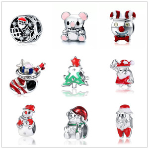 Wholesale newest MOQ20pcs european christmas gift tree sock tree teddy bear snowman diy bead Fit Pandora Charm Bracelet D035