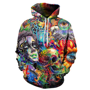Wholesale Paint Skull D Printed Hoodies Men Women Sweatshirts Hooded Pullover Brand xl Qaulity Tracksuits Boy Coats Fashion Outwear New