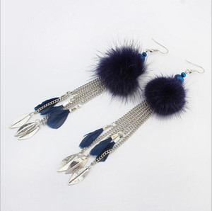 New Collection Earrings For Women Cute Fur Ball Pompom Long Chains Charm Earrings Female Leaf And Feather Pendant Earring 12PRS