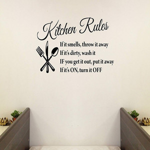 Wholesale Kitchen Rules Quotes Family Handmade Wall Decals Wall Stickers Removable Vinyl Arts for Children Day Bedrooms Family Playroom Classroom