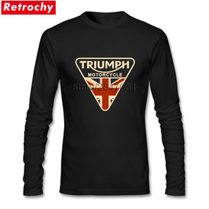 Wholesale Fashion Craked Union Jack Triumph UK Flag Tee Shirt Men Brand Designer Long Sleeved Boy T Shirts Asian Size