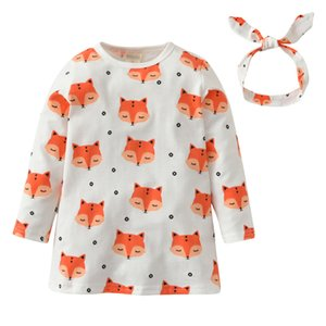 Wholesale 2018 Hot Sale Infant Clothing Baby Girl Dress Cartoon Fox Pattern Long sleeve Princess Dress Headband Newborn Baby Clothes