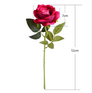 Wholesale 7pcs Velvet roses artificial flowers for home wedding table decorations red blue purple pink fake flower valentine s day gifts