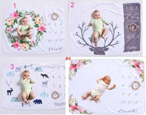 Wholesale 8 styles infant baby photography background commemoration blankets Photographic props Letters flower Animals Photographic fleece blanket