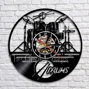 Wholesale Drummers Personalized Drum Wall Clock Music Instrument Drum Kit Wall Decor Vinyl Record Wall Clock Music Lover Drummers Gift