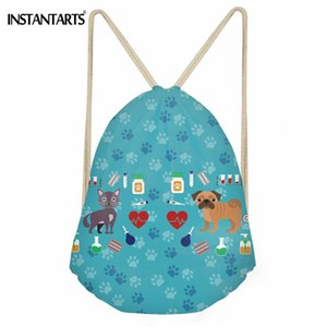 Wholesale INSTANTARTS Veterinarian Printing Women Drawstring Bag Casual String Backpack for Girls Boys Polyester Shoes Storage Bag Sack