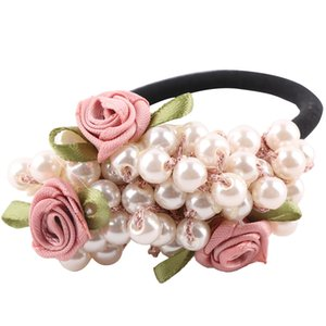 Wholesale 1 PC Charming Fashion Girls Hair Accessories Rustic Small Fresh Flower Beaded Pearl Headband Rubber Band Elastic Hair Bands