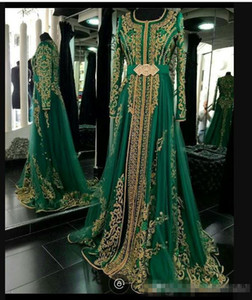 2019 Emerald Green Muslim Formal Evening Dresses Long Sleeves Abaya Designs Dubai Turkish Prom Evening Party Gowns Cheap Moroccan Kaftan on Sale