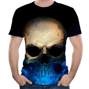 Wholesale Women Men Sexy Rock King of Skull D Heat Transfer Print T Shirts Hipster Short Sleeve Casual Classic Top Tee