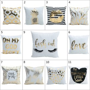 Wholesale Gold Bronzing Pillow Cases Bling Sequin Pillowcase Luxury Geometric Pineapple Eyelash Cotton Pillow Case White Bedroom Home Office Decor