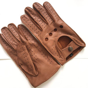 Free shipping Men's Fall and Winter Genuine Leather Gloves New Fashion Brand Brown Warm Driving Unlined Gloves Goatskin Mittens