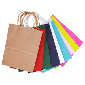 Wholesale High Quality Kraft Paper packing Bag With Handles Festival Gift Bag For Wedding candy colors Paper Bags for shopping colors