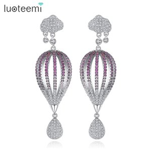 Wholesale Fascinating Half Hot Air Balloon Statement Long Dangle Earrings For Women Multi Color CZ Stone Romantic Earring Jewelry