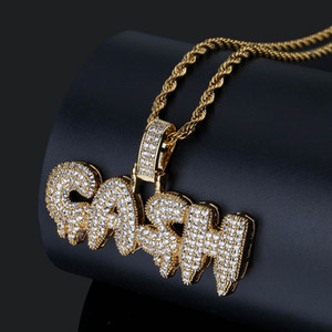 Wholesale cash gold resale online - Men Iced Out CASH Letters Pendant Necklace Gold Silver Micro Pave Cubic Zircon Hip Hop Gold Chain Jewelry Gifts