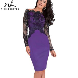 Wholesale Nice forever Off Shoulder Gorgeous Vintage Dress Sexy Slash Neck Lace Top Long Sleeve Zipper Club wear Casual Pencil dress