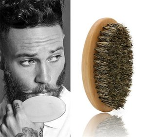 Boar Hair Bristle Beard Mustache Brush Military Hard Handle Comb Hairdressing Tool for Men X072