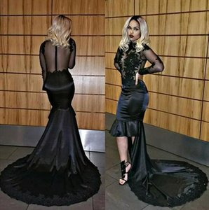 Evening Gowns African Sexy Black High Low Mermaid 2018 Sheer Long Sleeve Lace Appliqued Sequins Illusion Bodice Long Prom Dress on Sale