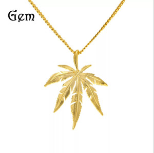 Wholesale Gold Plated Maple l Leaf Pendant Necklace Men ms Hip Hop Charm Herb cm Cuban Chains Necklaces Mens Fashion Hiphop Jewelry Birthday Gift
