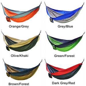 Wholesale 36 Colors cm Nylon Single Person Hammock Parachute Fabric Hammock Travel Hiking Backpacking Camping Hammock Swing Bed AAA501