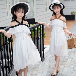 Wholesale Girls Dresses Age Shoulderless Princess Chiffon Flounce Beach Dress for years Girl Kids