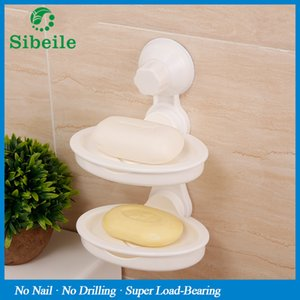 Wholesale Soap Dishes Sble Kitchen Bathroom Storage Basket Vacuum Suction Cup Soap Dish Holder Removable Double Layers Wall Plastic Dish Tray