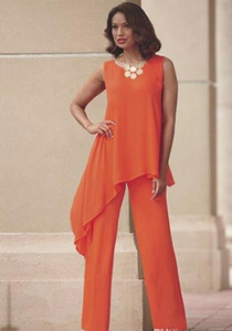 Orange Two Pieces Mother of the Bride Pant Suits For Wedding Jewel Neck Chiffon Wedding Guest Dress Asymmetric Plus Size Formal Dresses