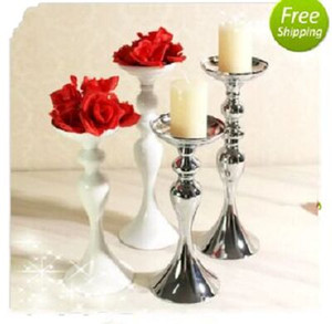 Wholesale white candelabra wedding resale online - Silver Candelabra Candlestick Holder Wedding Party Iron Candlestick Household Table Ornaments White Silver Color Furnishings Multi Sizes