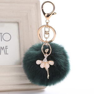Wholesale Women Chaveiro Angel Keychain cm Fur Pom Pom Key Chain Faux Rabbit Hair Bulb Bag Car Ornaments Fox Fur Ball Pendant Key Ring
