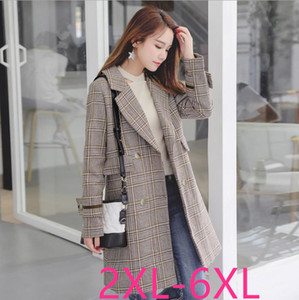 autumn winter new plus size casual loose plaid long sleeve dust coat trench gray woman large size coats on Sale