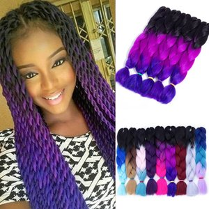 Wholesale ombre kanekalon hair resale online - Ombre Three Two Mix Colors Kanekalon Braiding Hair Synthetic Jumbo Braids Hair Extensions inch Crochet Braids Hair Bulk Price