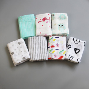 Wholesale 2019 Maternity Newborn Muslin swaddle Blanket Stroller cover blanket Bamboo Flamingo Owl Nursery Bedding Bath Towels Double layer cm