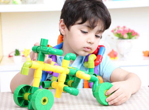 72 pieces of puzzle plastic spell plug assembling pipe building blocks children's assembly toys for children aged over 3