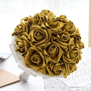 Wholesale Sparkly Gold Brooch Diamond Bridal Wedding Bouquets Bridal Crystal Silk Flowers Bridal Bouquets de noiva Factory Custom CPA1586