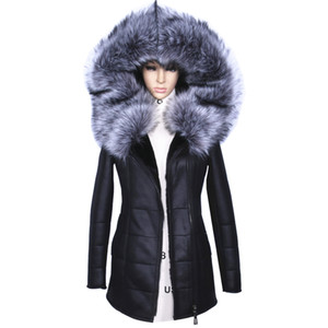 Wholesale Factory Direct Supplier Winter Jacket Women Coats thick Artificial Fashion Slim Suede Female Models leather Fox Fur Collar h1z1