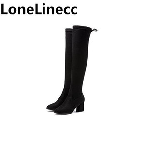2018 Ladies Autumn Spring Shoes Square High Heel Women Over The Knee Boots Scrub Black Woman Motorcycle Boots sexy shoes woman