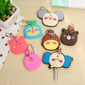 Wholesale Cute Cartoon Bear Girl Key Cover Cap Rubber GIFT Men Women Key Chain Rubber Key Ring