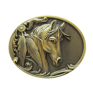 New Vintage Bronze Plated Rodeo Horse Head Western Oval Belt Buckle Gurtelschnalle Boucle de ceinture